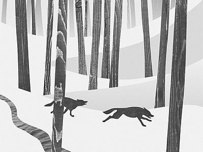 Martwood Wolves texture trees wolves animals forest wood black and white mixed media print art design illustration