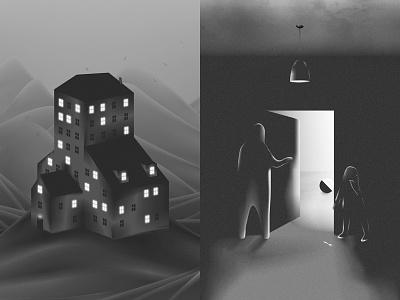 Hotel spooky graphics black and white lights creatures landscape building room hotel design art illustration