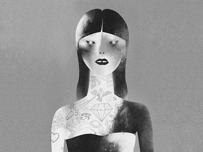 •  • oriental people diamond zombie girl tattoo ink black and white design print art illustration