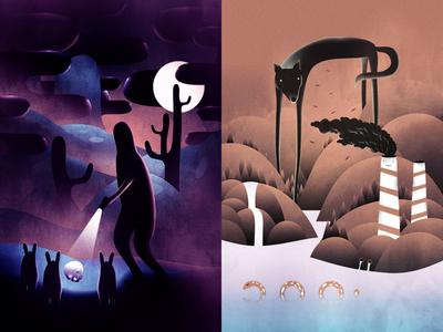 Year 4000 / Bad Boy illustrator moon toxic animals pollution wolf landscape creatures nature design art illustration