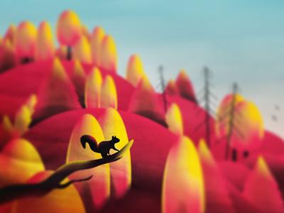 • •  book hills animals childrens book squirrel autumn landscape forest nature design art illustration