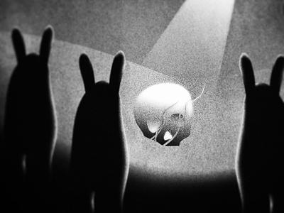 x x drawing human dark bunnies black and white animals creatures skull print design art illustration
