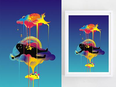High in the Sky high sky cloud rainbow creature artwork interior drawing design print art illustration