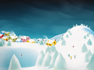 ❄ mountain town lake holiday snow winter childrens book artwork drawing design art illustration