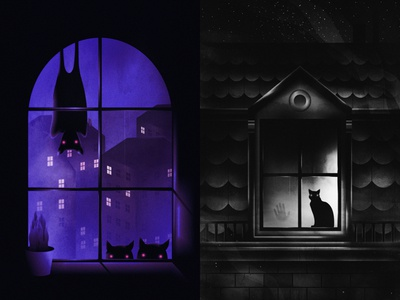 Every window has a secret... buildings city home house creatures animals night windows design drawing art illustration