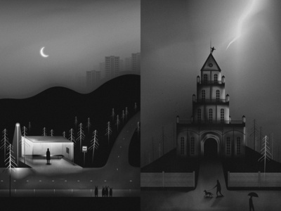 New Work moon night lightning people freedom animals tower church street road bus stop station landscape hills town black and white drawing design art illustration