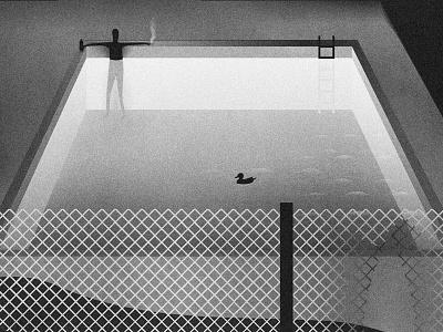 Intruder graphics pool party art print night pool human outdoors smoke wine duck bird fence water swimming pool swim black and white drawing design art illustration