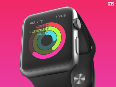Free PSD from 360 Apple Watch mockups!