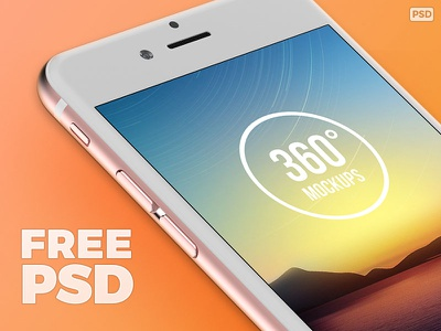 Free iPhone 6s Rose Gold Template [PSD] dailyui psd template iphone 6s app design 360mockups rose gold iphone mockup