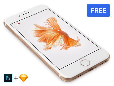 Free iPhone 7 Gold mockup apple perspective psd template presentation app design 360mockups gold iphone7 mockup
