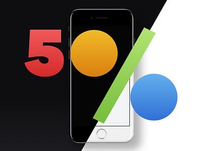 50% OFF all our iPhone 7 Mockups! apple perspective psd template presentation app design 360mockups set black iphone7 mockup