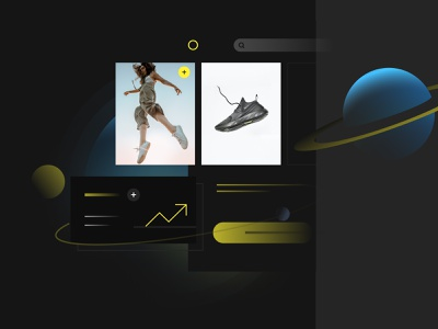 eCommerce freedom and scalability dashboard admin minimal universe space planets mobile app e-commerce online store shop store landing landing page website concept scalability platform ecommerce nebulab illustration