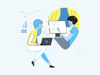 Remote Working in Nebulab remote work characters design nebulab illustration