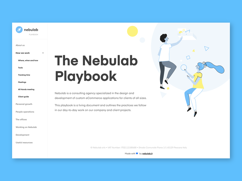 The Nebulab Playbook learning characters design illustration nebulab website website design documentation handbook playbook