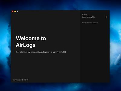 AirLogs Welcome ui macapp mac