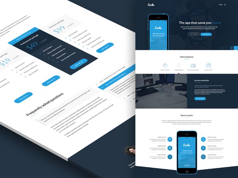 Evoke web app app mobile app landing page dark blue icons