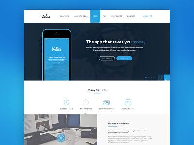 Lexi (Renamed) web app app mobile app landing page dark blue icons