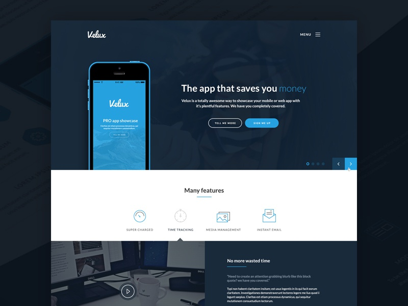 Lexi dark web app app mobile app landing page dark blue icons