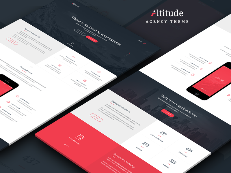 Altitude agency theme red hero header minimal clean app