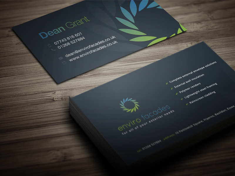 Enviro Facades business cards green blue dark environment business cards