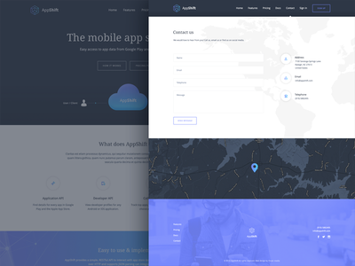 Appshift website contact tech cloud api blue purple