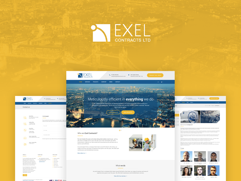 Exel Contracts Website london yellow maintenance building construction contractor
