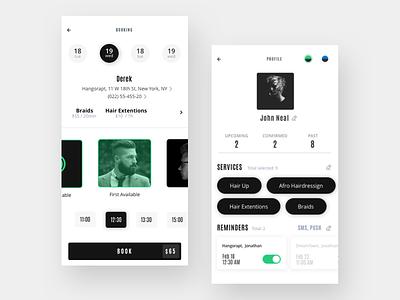 Stylist App minimalist creative typography simple animation uiux dark app clean minimal barbershop design ios ui ux sketch