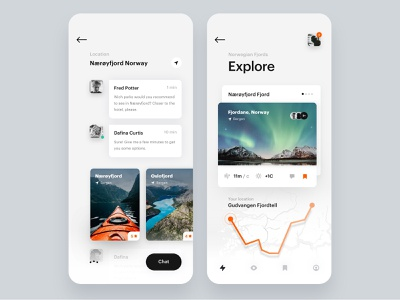 Travel App Ø Fjords Guide. Discover Norwegian Fjords shadows book app discover minimalist uiux simple app ios minimal clean design sketch ui ux fjords norway travel guide travel app