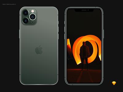 Freebie iPhone 11 Pro Mockup - Sketch iphone 11 pro iphone 11 iphone minimal ios design ui ux clean sketch free sketch free mockup freebie