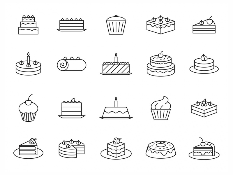 20 Cake Vector Icons illustration illustrator vector download vector design icons download icons pack icons set icon design vector icon vector icon cake symbol cake logo cake vector cake icon baking cake free download freebie graphicpear