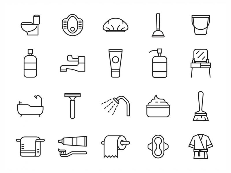 20 Bathroom Vector Icons ai illustrator illustration symbol logo design logo vector download vector design icons download icons pack icons set icon design vector icon bathroom vector bathroom icon shower bathroom free download freebie graphicpear