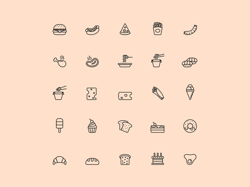 Food Vector Icons ai design ai vector ai illustrator illustration symbol logo design logo vector download vector design icons download icons pack icons set icon design vector icon food vector food icon food download graphicpear