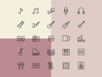 25 Music Line Icons ai download ai design ai vector ai illustrator illustration symbol logo design logo vector download vector design icons download icons pack icons set icon design vector icon music vector music icon music freebie