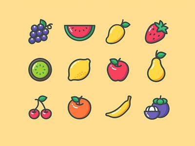 12 Colored Fruit Icons ai download ai design ai vector ai illustrator illustration symbol logo design logo vector download vector design icons download icons pack icons set icon design vector icon fruit vector fruit icon fruits freebie