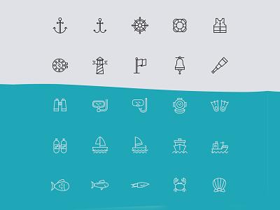 Nautical Line Vector Icons ai download ai design ai vector ai illustrator illustration symbol logo design logo vector download vector design icons download icons pack icons set icon design vector icon nautical vector nautical icon nautical freebie