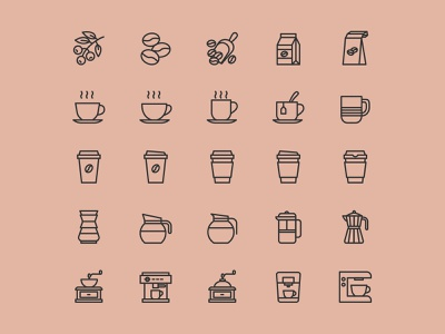 25 Coffee Theme Vector Icons ai download ai design ai vector ai illustrator illustration symbol logo design logo vector download vector design icons download icons pack icons set icon design vector icon coffee vector coffee icon coffee