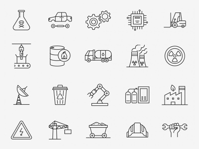 Industrial Vector Icons ai download ai design ai vector ai illustrator illustration symbol logo design logo vector download vector design icons download icons pack icons set icon design vector icon industrial vector industrial icon industry