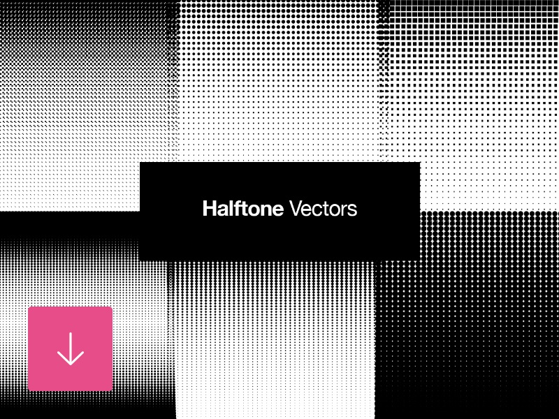 Free set of halftone vector retro patterns by graphic pear.