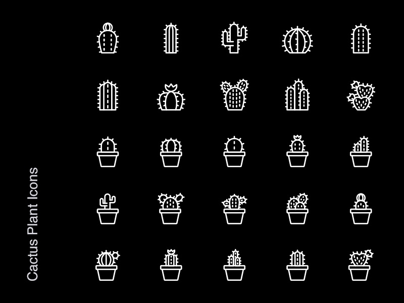 Free Icons - Cactus Plants photoshop illustrator psd jpg svg vector icon freebies freebie free download