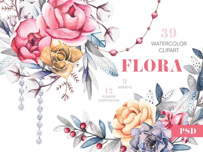Watercolor Floral Clipart Elements and Compositions graphic pear download hand printed hand painted watercolor illustration floral design elements
