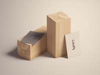 Business Cards on wood block - PSD