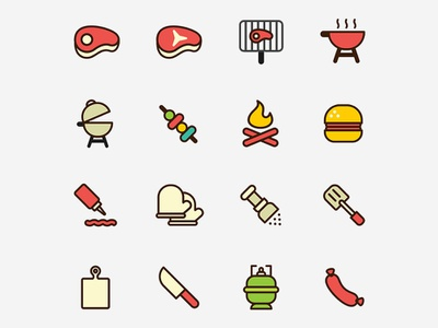 Barbecue Icons illustrator template free template template vector free ai psd download free psd free download freebie free