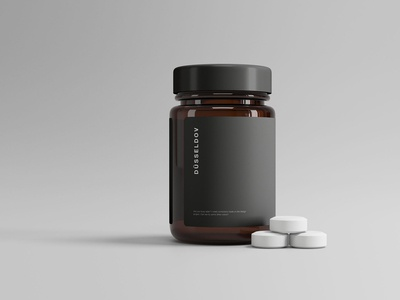 Medicine Bottle with Pills Mockup