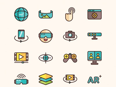 Virtual Reality Vector Icons – Part 02