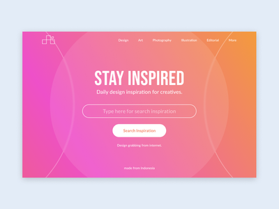Stay Inspired Website colorful inspiration website landing page design minimalism simple user interface header ui