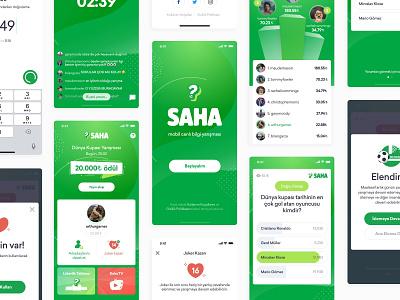 Saha Mobile App green screens ux ui vector android ios football quiz live mobile app design app