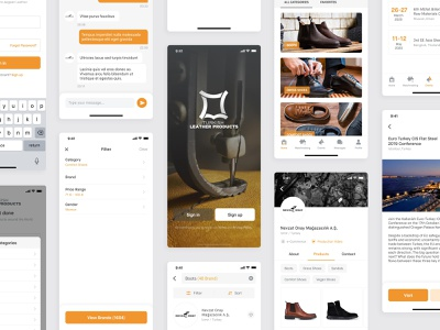 Turkish Leather Products App events profile matchmaking message products login ios clean app ux design ui