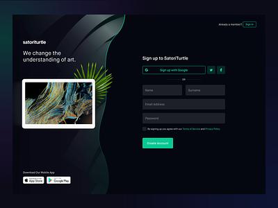 Register — SatoriTurtle login app website form sign up clean minimal ui ux onboarding
