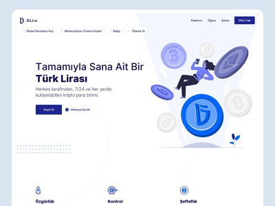 Stablecoin Landing Page | BiLira landing page crypto simple webflow stablecoin illustration website clean ux design ui