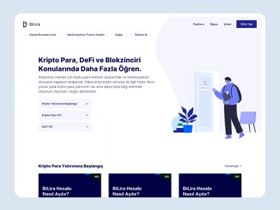 BiLira | Learn Page education landing page blockchain crypto learn clean app website ux design ui